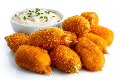 Fried breaded surimi crab claws. Royalty Free Stock Images