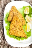 Fried breaded tilapia fish Royalty Free Stock Photos