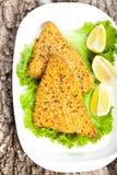 Fried breaded tilapia fish Royalty Free Stock Photos