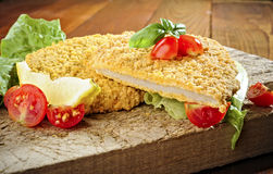 Fried breaded Veal Milanese Stock Image