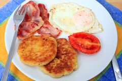 Fried breakfast horizontal Royalty Free Stock Images