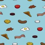 Fried Breakfast Seamless Background Fotografía de archivo