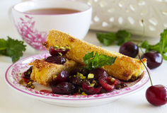 Fried brie with Cherry Royalty Free Stock Photography