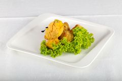 Fried broccoli. With salad leaves royalty free stock photos