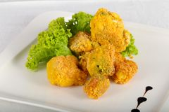 Fried broccoli. With salad leaves stock photos