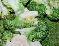 Fried broccoli and garlic Royalty Free Stock Image