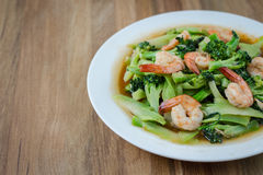 Fried Broccoli With Shrimp Stock Photos