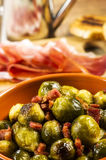 Fried Brussel Sprouts with Ham Stock Photography