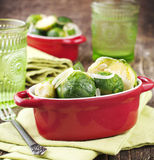 Fried Brussels Sprouts with Onions Stock Photo