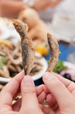 Fried Bulgarian Sprat and Trachurus Stock Images