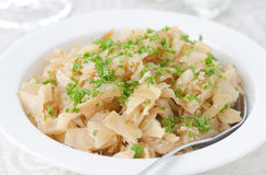 Fried cabbage greens and egg closeup Stock Photo