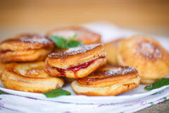 Fried cakes with jam Stock Photography