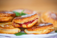 Fried cakes with jam Royalty Free Stock Photography