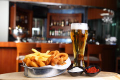 Fried Calamar and beer stock image