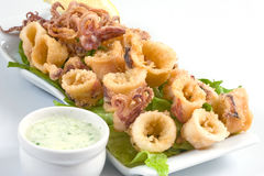 Fried calamari. Deep fried calamari with salad and butter sauce royalty free stock image