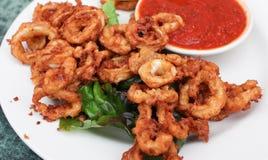 Fried calamari. Plate of fried calamari appetizer Stock Photo