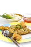 Fried Calamari  breaded served with  sauce Stock Images