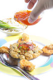 Fried Calamari  breaded served with  sauce Royalty Free Stock Photo