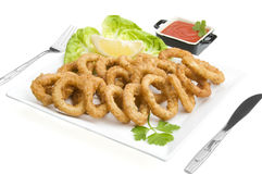 Fried calamari close up Stock Photography