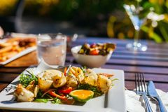 Fried calamari. Delicious fried calamari served with vegetables for lunch Royalty Free Stock Images