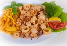 Fried calamari, fried squid with lemon Royalty Free Stock Image