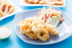 Fried calamari, Fried Squid. Fried calamari or Fried Squid with salad Stock Image