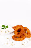 Fried calamari. Onion souce and calamari rings Stock Photography
