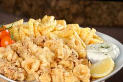 Fried calamari and pommes frittes Royalty Free Stock Images