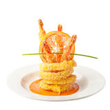 Fried Calamari with prawns Stock Images