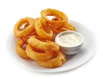 Fried calamari rings. And dip sauce on white plate Stock Photos