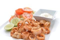 Fried Calamari Rings profondo Fotografia Stock Libera da Diritti