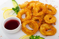 Fried calamari rings  with sauce Royalty Free Stock Image