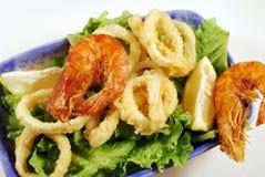 Fried calamari rings and shrimp Royalty Free Stock Images