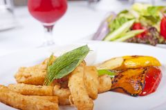 Fried calamari seafood meal Royalty Free Stock Image