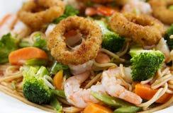 Fried calamari with Seafood pasta Stock Photography
