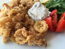 Fried calamari served with sauce and salad Royalty Free Stock Image