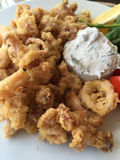 Fried calamari served with sauce and salad Royalty Free Stock Photo