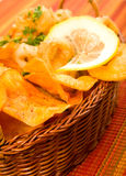 Fried calamari with Sweet potato chips Stock Photos