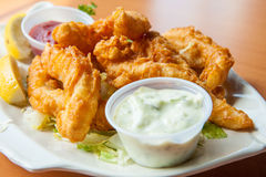 Fried calamari with tartar sauce Stock Photos