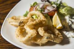 Fried calamari and vegetable salad Royalty Free Stock Images