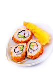 Fried california rolls and fried shrimp Stock Photos