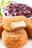 Fried camembert. Cheese with cranberry sauce Stock Images