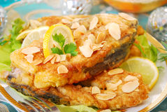 Fried carp with almonds  for christmas Royalty Free Stock Image