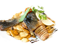 Fried carp fillet with fried potatoes Royalty Free Stock Image