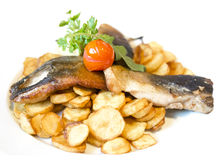 Fried carp fillet with fried potatoes Royalty Free Stock Photography