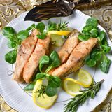 Fried carp fillet on wintry salad Stock Photography