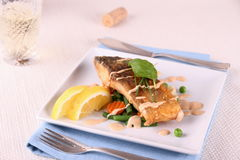 Fried carp fish fillet with vegetables, wine Royalty Free Stock Photography