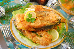 Fried carp steaks for christmas Stock Photos