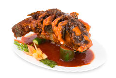 Fried carp with sweet sauce, clipping path. Stock Photos