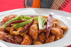Fried cashew chicken with red background. A kind of chinese food Stock Images